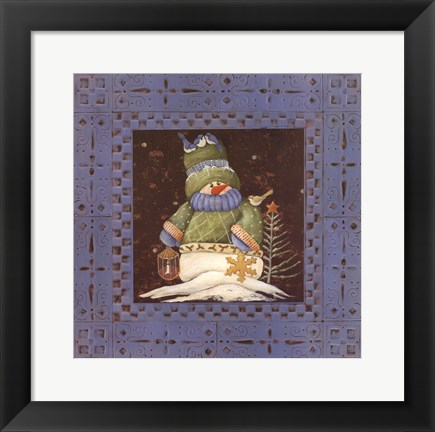 Framed Blue tin Snowman I Print