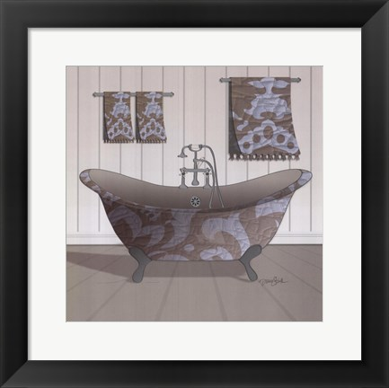 Framed Damask Tub I Print