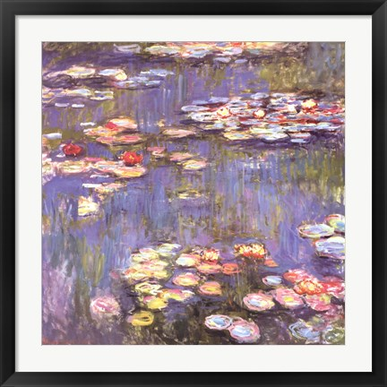 Framed Water Lilies, c.1916 Print