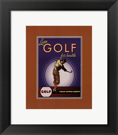 Framed Golf For Health Print