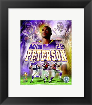 Framed Adrian Peterson - 2007 Portrait Plus Print