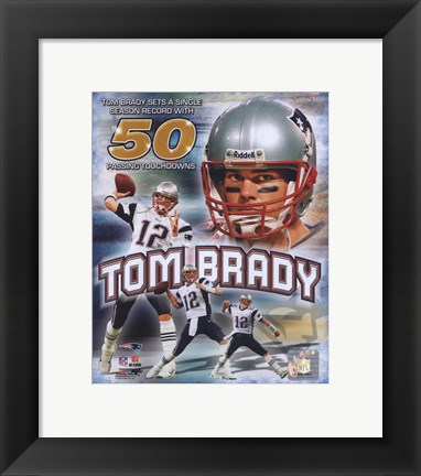 Framed Tom Brady 50 TD's Portrait Plus Print