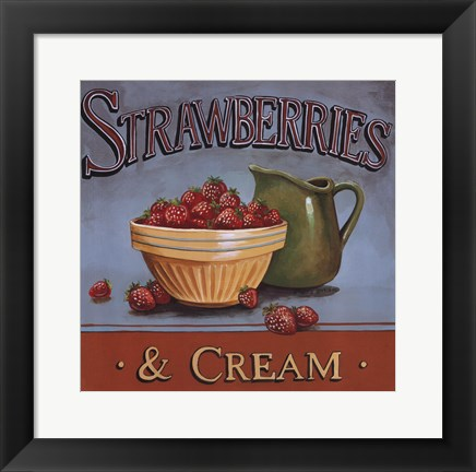 Framed Strawberries & Cream Print