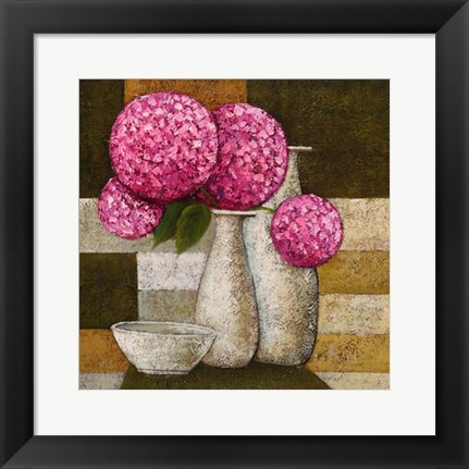 Framed Hydrangeas with Vase I Print