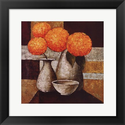 Framed Hydrangeas with Vase III Print