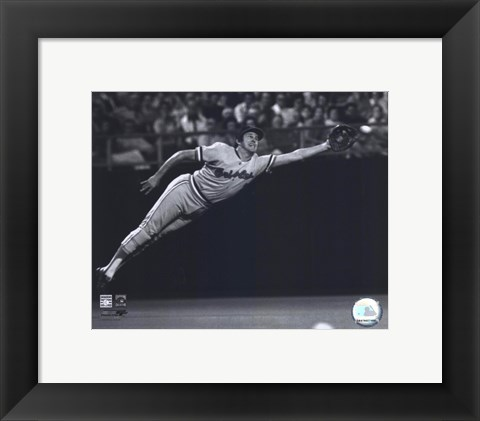 Framed Brooks Robinson - 1973 Diving Catch, B&W Print