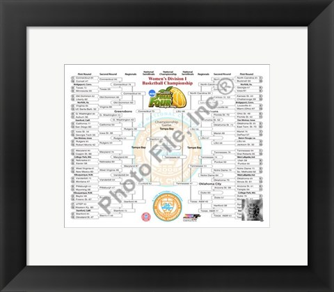 Framed 2008 Final 4 Women's Bracket photo - Tennessee Lady Volunteers Champs Print
