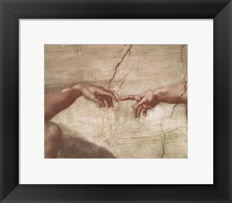 Framed Creation of Adam (hands detail) Print