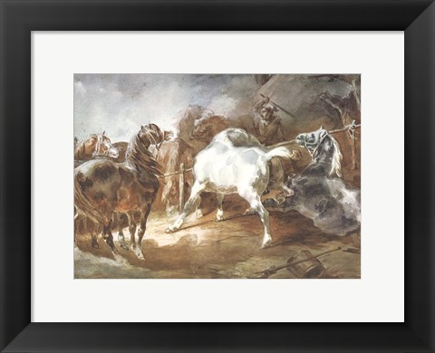 Framed Fighting Horses Print