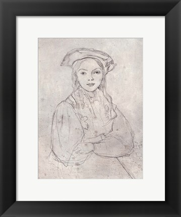 Framed Girl in Beret Print