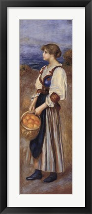 Framed Girl with a Basket of Oranges Print