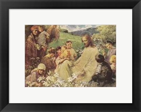 Framed Christ and the Little Children Print
