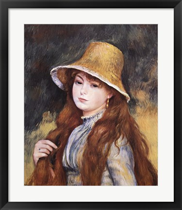 Framed Girl and Golden Hat Print