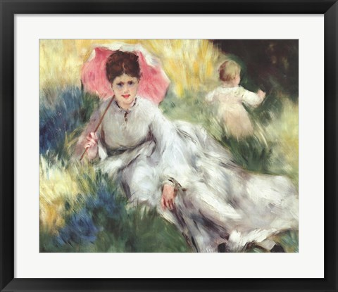 Framed Woman with a Parasol Print