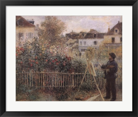 Framed Monet Painting in his Garden at Argenteuil, c.1873 Print
