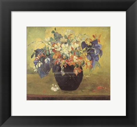 Framed Vase of Flowers, 1896 Print