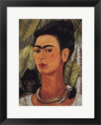 Framed Self-Portrait with Monkey, 1938 Print