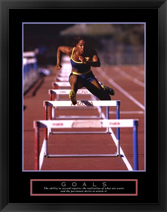 Framed Goals - Runner Jumping Hurdles Print
