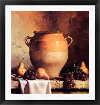 Framed Confit Jar with Pears & Grapes Print