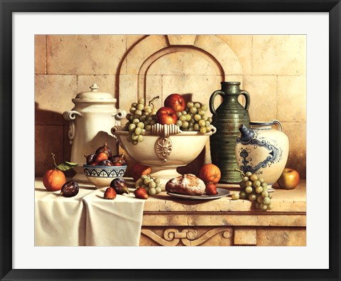 Framed Italian Still Life with Green Grapes Print