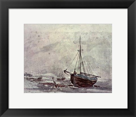 Framed Coast Scene With Ships Print