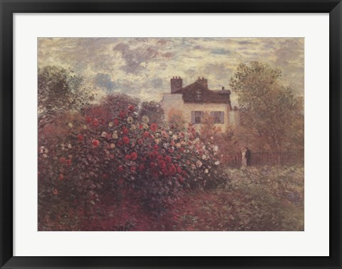 Framed Artist's Garden in Argenteuil (A Corner of the Garden with Dahlias), c.1873 Print