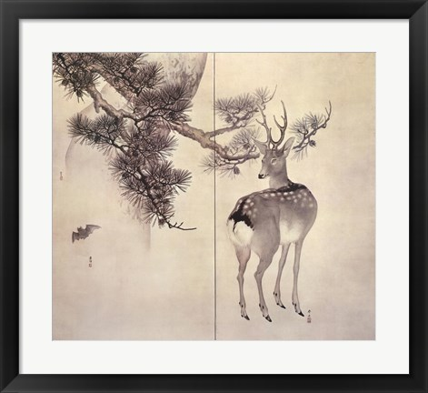 Framed Deer Pine Bat Print