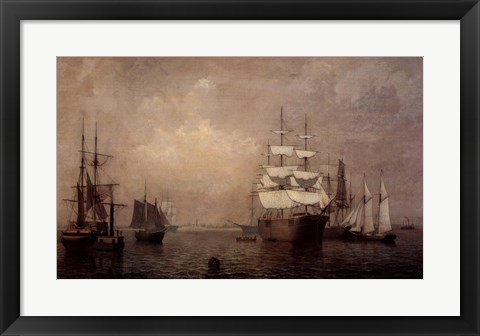 Framed Merchantmen Off Boston Harbor Print