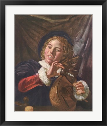 Framed Boy with a Lute Print