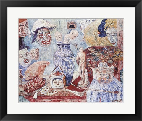 Framed Still Life with Masks Print