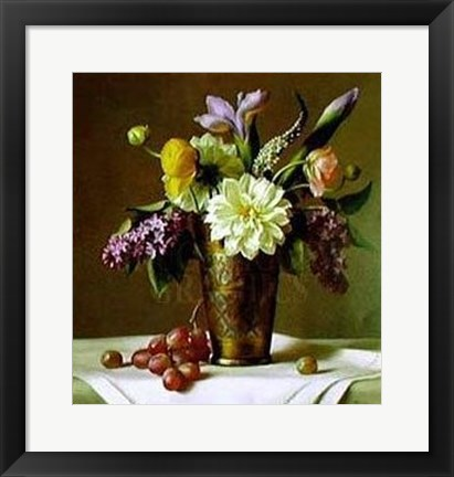 Framed Flowers in an Indian Vase Print