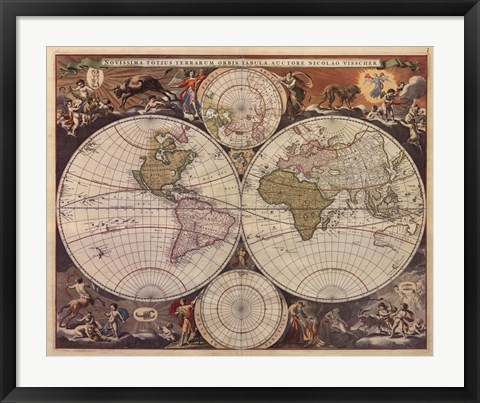 Framed New World Map, 17th Century Print