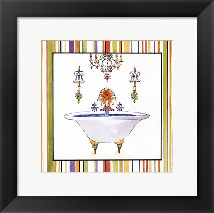 Framed Striped Bath III Print
