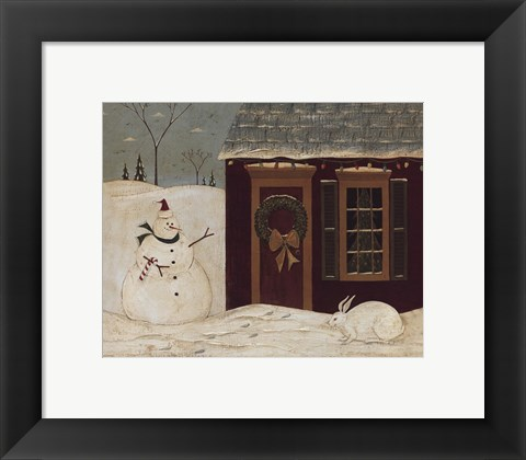 Framed House with Snowman Print