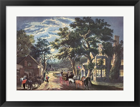 Framed Currier and Ives - Wayside Inn Print