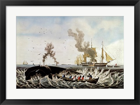 Framed Currier and Ives - Whale Fishery Print