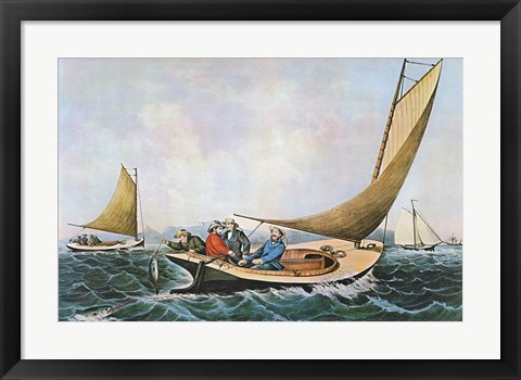 Framed Trolling for Bluefish Print