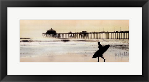 Framed Surfer at Huntington Beach Print