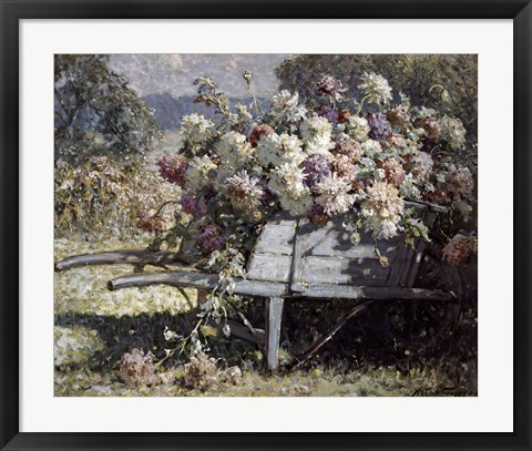 Framed Barrow of Blooms Print