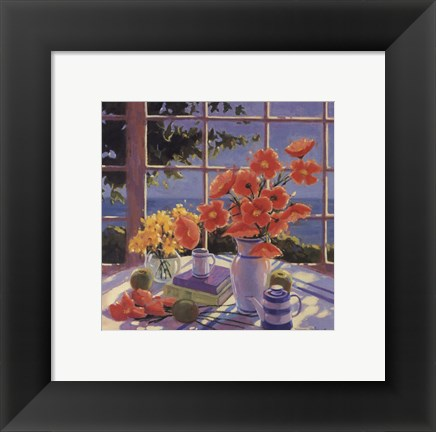 Framed Red Poppies and Green Apples Print