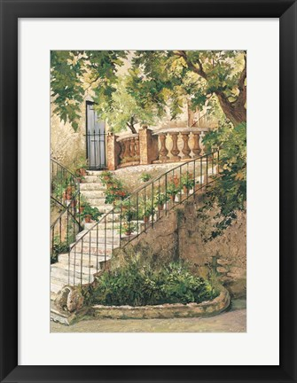 Framed Courtyard in Provence Print
