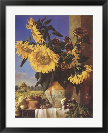 Framed Sunflowers and Pigeonnier Print