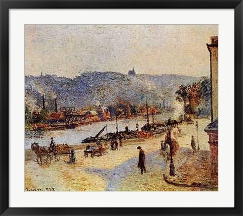 Framed Quays At Rouen Print