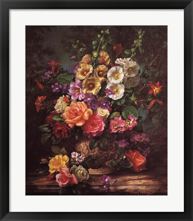 Framed Still Life with Hollyhocks Print