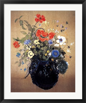 Framed Blue Vase of Flowers Print