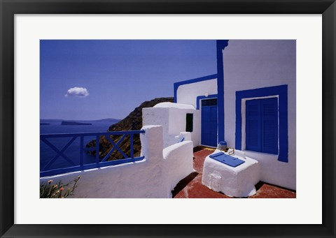 Framed Blue Shutters with Cloud Print