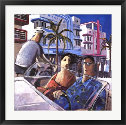 Framed Cruising in Miami Print