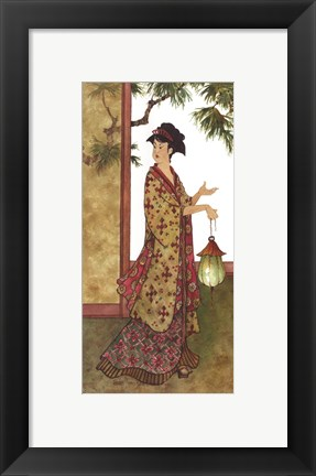 Framed Lady with a Lantern Print