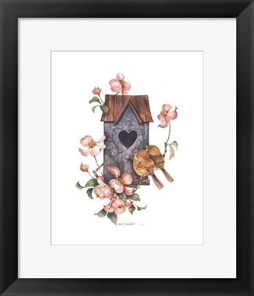 Framed Birdhouse with Yellow Throats Print