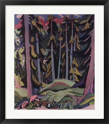 Framed Forest with Brook Print